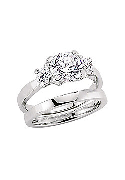 Rhodium Plated Sterling Silver Round Brilliant Cubic Zirconia Bridal Set Ring