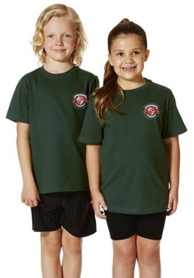 Unisex Embroidered School T-Shirt 6-7 years Bottle green