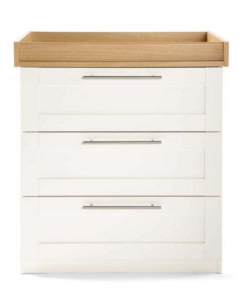 Mamas & Papas - Rialto Dresser with changer - Ivory White with Natural Oak Effect Trim