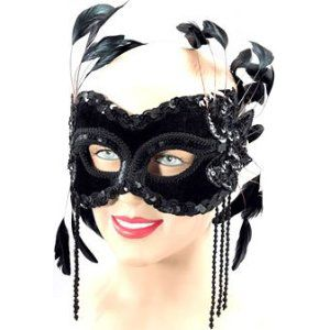 Bristol Novelty - Black Velvet Masquerade Mask with Feathers (half face)