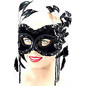 Bristol Novelty - Black Velvet Masquerade Mask with Feathers (half face)