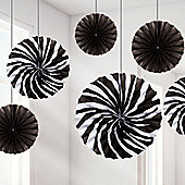 Zebra Print Hanging Fan Decorations - 40cm