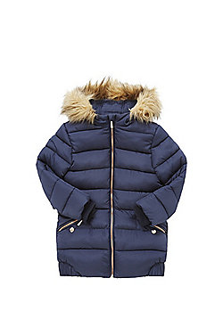 F&F Padded Long Line Hooded Jacket - Navy