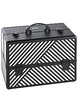 Beautify Large Black & White Striped Beauty Cosmetics Make Up Case