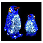 Set of 2 Outdoor Acrylic Penguins Christmas Decorations - 40 White LEDs