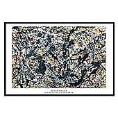 Jackson Pollock Gloss Black Framed Silver on Black Poster