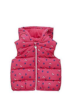 F&F Rainbow Heart Padded Gilet - Bright pink