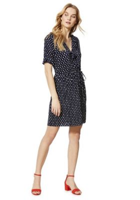 F&F Spot Print Plisse Pleat Wrap Dress Navy 16
