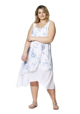 Izabel Curve Leaf Print Plus Size Hanky Hem Dress Blue 16