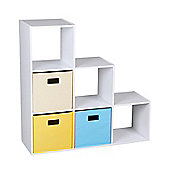 6-Cube Stepped Bookcase With 3 Canvas Bins-White