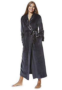 F&F Fleece Crushed Velour Trim Maxi Dressing Gown - Grey