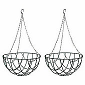 2 x 12-inch Green Metal Hanging Baskets