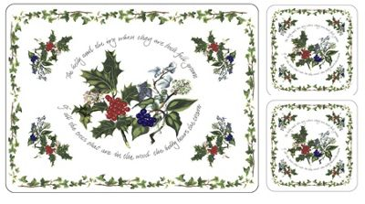 Pimpernel The Holly & The Ivy Placemats & Free Coasters, Set of 6