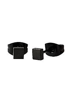 Square 3mm Black Stud Men's Earrings in Stainless Steel