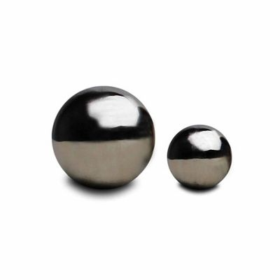 Set of 2 Stainless Steel Mirror Sphere Garden Ornaments - 9 & 13cm