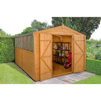 Forest Garden Shiplap Dip Treated 12x8 Double Door Apex Shed Installed