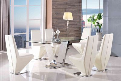 Valentino Designer Glass and Stainless Steel 160 cm Dining Table with 6 Ivory Rita Chairs