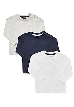 F&F 3 Pack of Long Sleeve T-Shirts - Navy, White & Grey