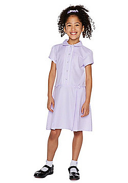 F&F School Girls Easy Care Gingham Dress with Scrunchie - Lilac