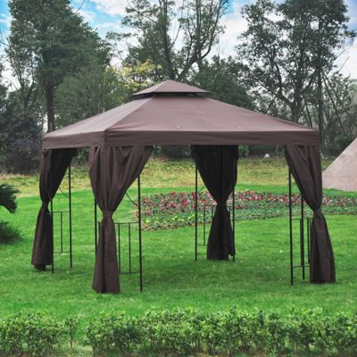 Outsunny Gazebo Sun Shade Shelter Garden Outdoor Party Wedding w/ Side Panel (Brown)