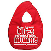 Dirty Fingers If you think I'm Cute you should see my Mummy Bib Red