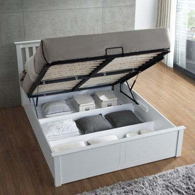 Happy Beds Malmo Wood Ottoman Storage Bed Frame - White - 4ft6 Double