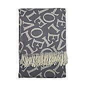 Emma Bridgewater 'Love' Grey Throw 100% Merino Wool, 190 x 130cm