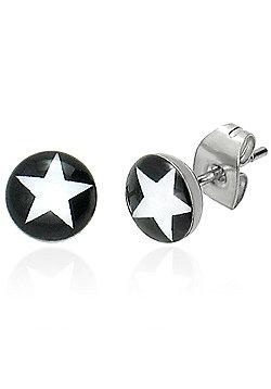 Urban Male Men's White Star Stainless Steel Stud Earrings 7mm