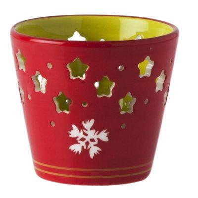 Red Ceramic Christmas Tea Light Holder