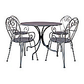 Charles Bentley Shabby Chic Steel Heart 5 Piece Bistro Set In Grey