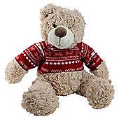 Large 45cm Plush Cuddly Christmas Teddy Bear Toy in Red Festive Jumper