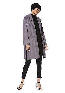 F&F Suedette Open Front Long Line Jacket - Grey