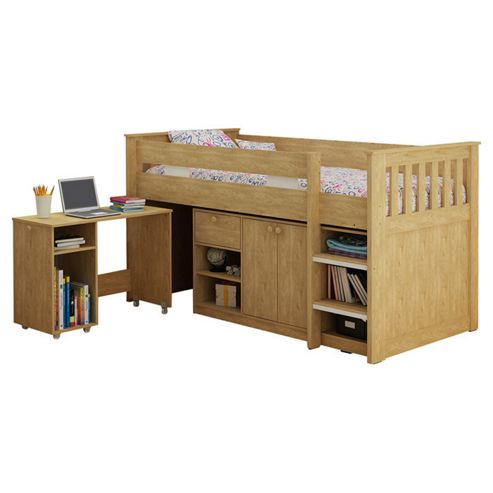 Home Essence Merlin Study Bunk Bed - Oak
