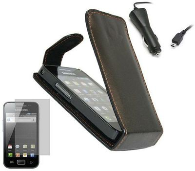 iTALKonline LCD Screen Protector, Car Charger and Clip On Flip Case Black - For Samsung S5830 Galaxy Ace
