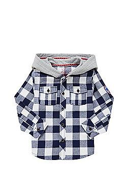 F&F Buffalo Check Hooded Shirt - Blue & White