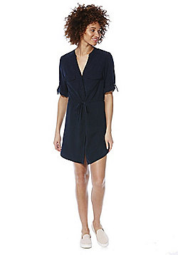 F&F Tencel® Tie Waist Shirt Dress - Navy