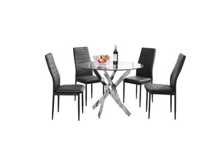 Novara Chrome And Glass Round Dining Table With Four Black Chairs