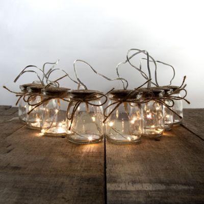 1.9m Glass Jar LED Fairy Light String Chain - 8 Jars, 24 Bulbs