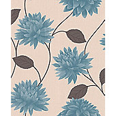 Superfresco Easy Romance Paste The Wall Floral Teal Wallpaper