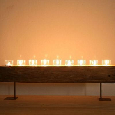Katigi Designs Reclaimed Wood Candle Holder Stand