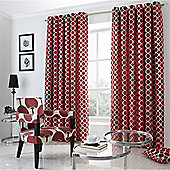Alan Symonds Lined Oh Eyelet Curtains - Red