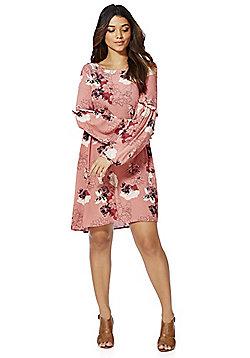 Vila Floral Print Swing Dress - Pink