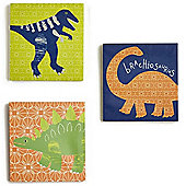 Dino Doodles Canvas Art - Set of 3