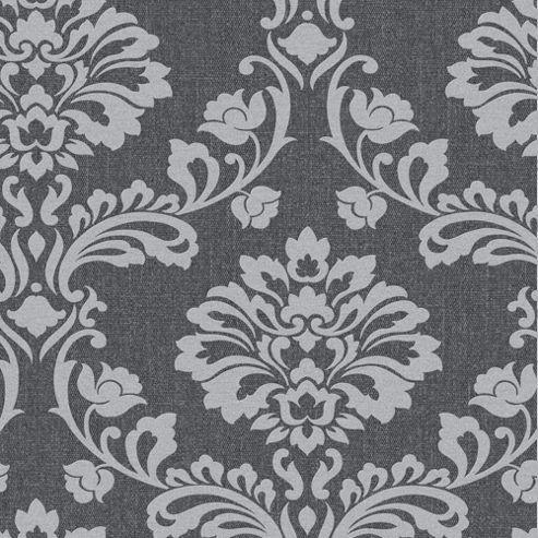 Superfresco Aurora Damask Black/Grey Subtle Sparkle Wallpaper