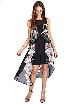 Wallis Orchid Print Overlayer Dress - Black
