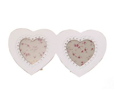 Buy Shabby Chic Double Heart Photo Frame - White from our All Frames ...
