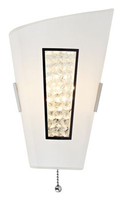 Stylish and Unique White Glass Wall Light with Small Crystal Beads