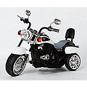 Harley-Davidson Style Kids 3 Wheel Chopper 6V Electric Motor Trike White