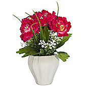 Pretty Artificial Pink Peonies and White Blossoms in White Ceramic Vase