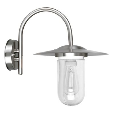 Lancaster Swan Neck Outdoor IP44 Wall Light Fitting in Brushed Chrome
